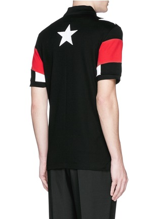 Back View - Click To Enlarge - Givenchy Beauty - Star appliqué colourblock polo shirt