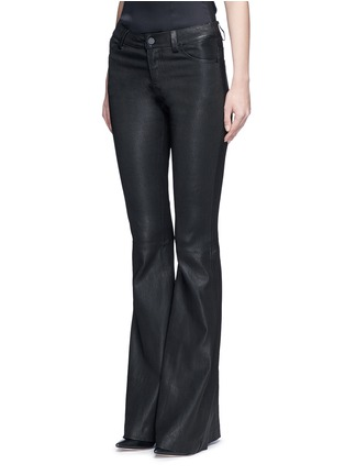 Front View - Click To Enlarge - alice + olivia - Lambskin leather bell bottom pants
