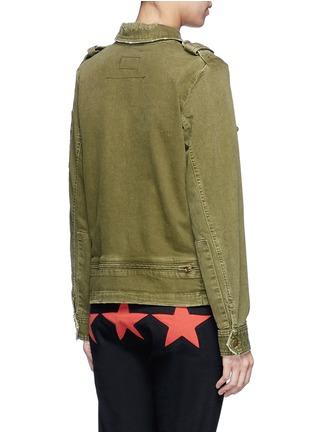 Back View - Click To Enlarge - CURRENT/ELLIOTT - Distressed denim military jacket