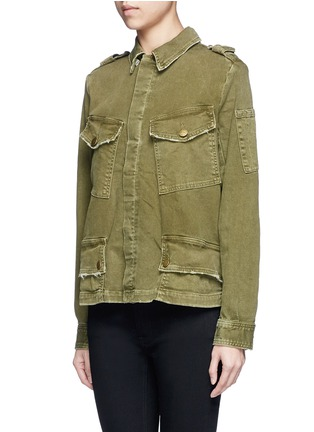 Front View - Click To Enlarge - Current/Elliott - Distressed denim military jacket
