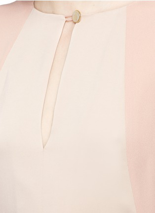Detail View - Click To Enlarge - Lanvin - Silk sleeve combo drape top