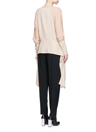 Back View - Click To Enlarge - Lanvin - Silk sleeve combo drape top