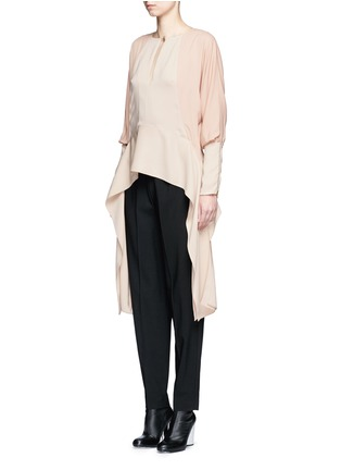Front View - Click To Enlarge - Lanvin - Silk sleeve combo drape top