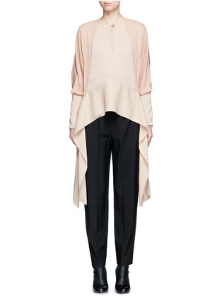 Main View - Click To Enlarge - Lanvin - Silk sleeve combo drape top