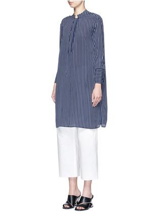 Front View - Click To Enlarge - Equipment - 'Blaine' stripe long silk shirt dress