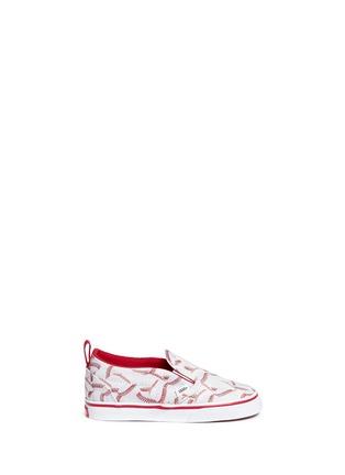 Main View - Click To Enlarge - Vans - 'Slip-on V Sports' baseball print toddler skate shoes