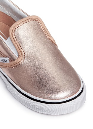 Detail View - Click To Enlarge - Vans - 'Slip-on V Metallic' leather toddler skate shoes