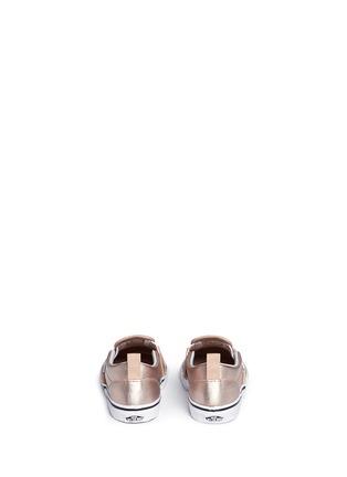 Back View - Click To Enlarge - Vans - 'Slip-on V Metallic' leather toddler skate shoes