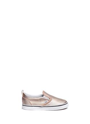 Main View - Click To Enlarge - Vans - 'Slip-on V Metallic' leather toddler skate shoes