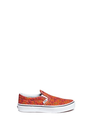 Main View - Click To Enlarge - Vans - 'Classic Sports' basketball print canvas kids slip-ons