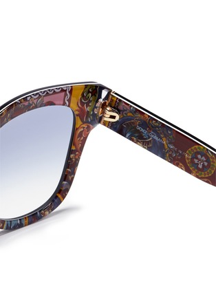 Detail View - Click To Enlarge - - - Sicilian Carretto print interior acetate oversize sunglasses