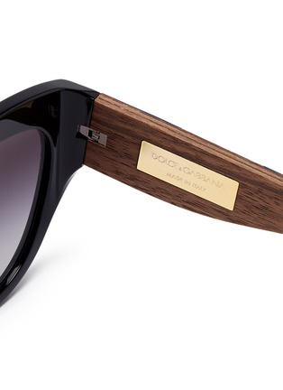 Detail View - Click To Enlarge - Dolce & Gabbana - Sicilian Carretto relief wood temple acetate butterfly sunglasses