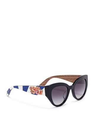 Figure View - Click To Enlarge - Dolce & Gabbana - Sicilian Carretto relief wood temple acetate butterfly sunglasses