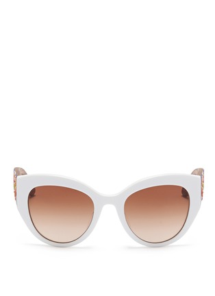 Main View - Click To Enlarge - Dolce & Gabbana - Sicilian Carretto relief wood temple acetate butterfly sunglasses