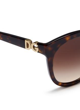 Detail View - Click To Enlarge - Dolce & Gabbana - Logo hinge tortoiseshell acetate oversize round sunglasses