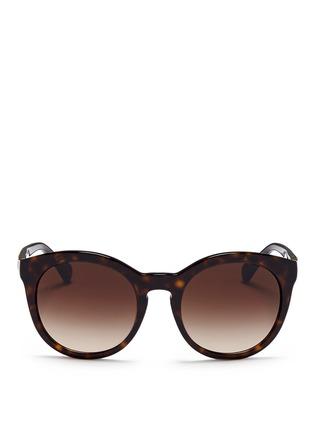 Main View - Click To Enlarge - Dolce & Gabbana - Logo hinge tortoiseshell acetate oversize round sunglasses