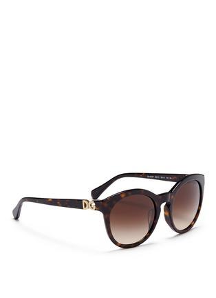 Figure View - Click To Enlarge - Dolce & Gabbana - Logo hinge tortoiseshell acetate oversize round sunglasses