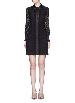 Main View - Click To Enlarge - Gucci - Cluny lace satin trim dress