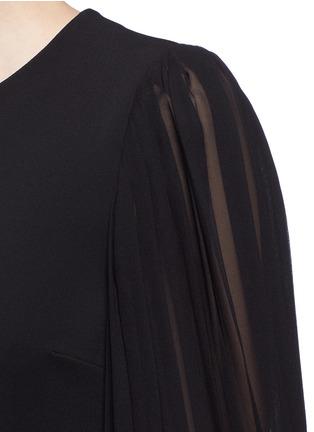 Detail View - Click To Enlarge - Gucci - Monogram button plissé pleat sleeve tech knit dress