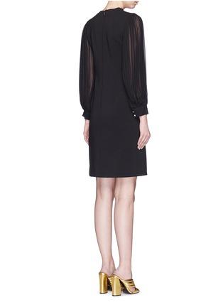 Back View - Click To Enlarge - Gucci - Monogram button plissé pleat sleeve tech knit dress
