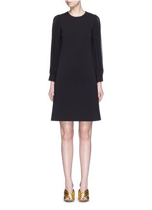 Main View - Click To Enlarge - Gucci - Monogram button plissé pleat sleeve tech knit dress