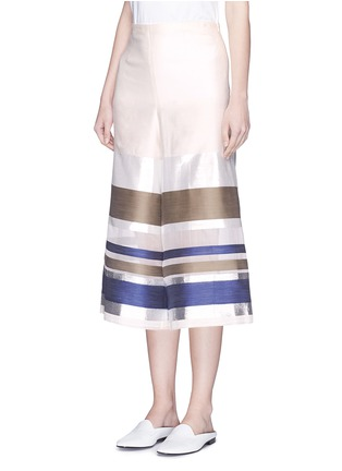 Front View - Click To Enlarge - ERIKA CAVALLINI - 'Keit' multi stripe silk blend culottes