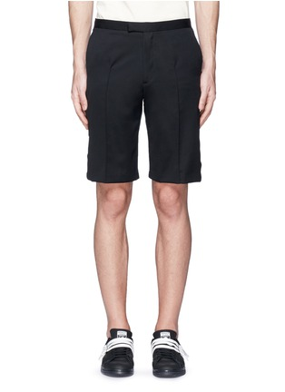 Main View - Click To Enlarge - Johnundercover - Mixed media slim fit shorts