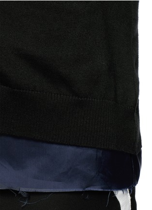Detail View - Click To Enlarge - Johnundercover - Raw edge cupro underlay cotton cardigan