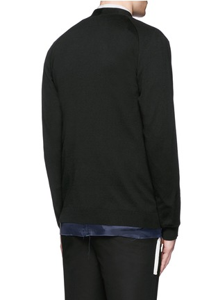 Back View - Click To Enlarge - Johnundercover - Raw edge cupro underlay cotton cardigan