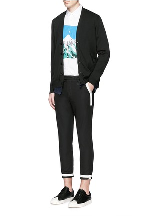 Figure View - Click To Enlarge - Johnundercover - Raw edge cupro underlay cotton cardigan