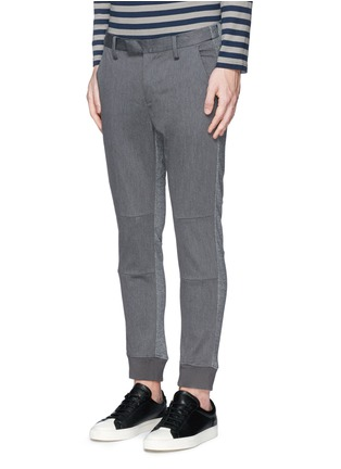Front View - Click To Enlarge - Johnundercover - Mixed media slim fit jogging pants