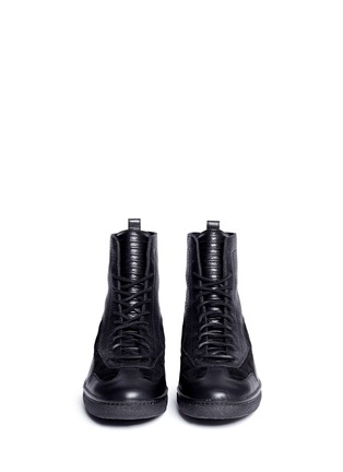 Front View - Click To Enlarge - ALEXANDER WANG - 'Eden' leather and suede high top sneakers