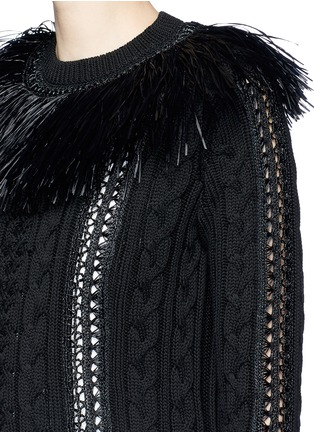 Detail View - Click To Enlarge - Valentino - Raffia fringe crochet trim cotton sweater