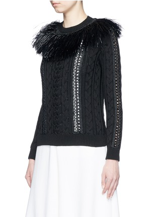 Front View - Click To Enlarge - Valentino - Raffia fringe crochet trim cotton sweater