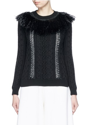 Main View - Click To Enlarge - Valentino - Raffia fringe crochet trim cotton sweater