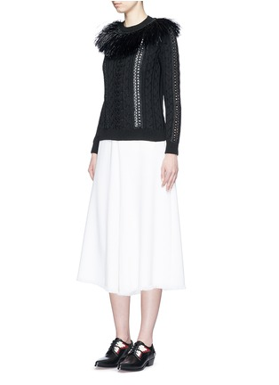 Figure View - Click To Enlarge - Valentino - Raffia fringe crochet trim cotton sweater