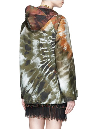 Back View - Click To Enlarge - Valentino - Masai bead embroidery tie dye print hooded jacket