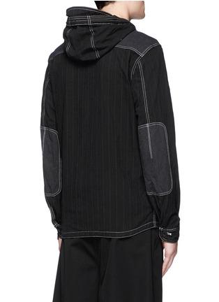 Back View - Click To Enlarge - COMME DES GARÇONS HOMME - Stripe garment dyed cotton blend hood jacket