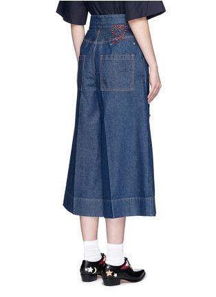 Back View - Click To Enlarge - MUVEIL - Jewel embellished denim culottes