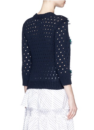 Back View - Click To Enlarge - Muveil - Mix ribbon mesh stripe cotton sweater