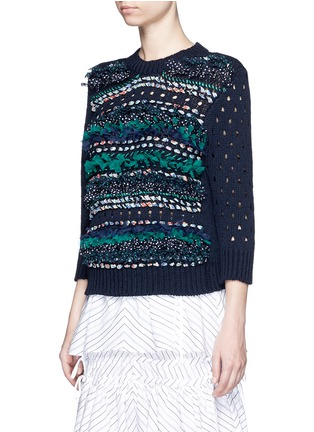 Front View - Click To Enlarge - Muveil - Mix ribbon mesh stripe cotton sweater