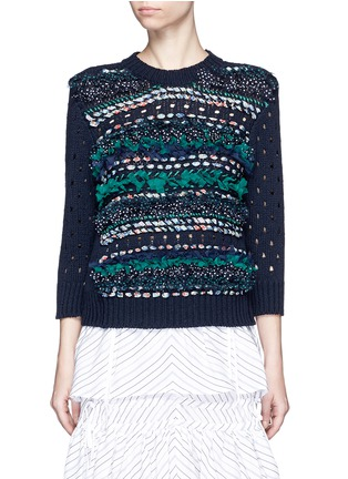 Main View - Click To Enlarge - Muveil - Mix ribbon mesh stripe cotton sweater