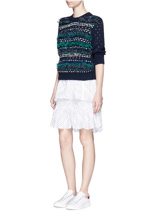 Figure View - Click To Enlarge - Muveil - Mix ribbon mesh stripe cotton sweater