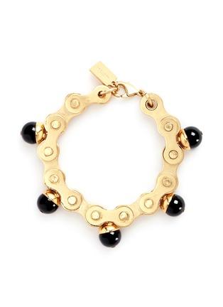 Main View - Click To Enlarge - Ela Stone - 'Suzy' onyx charm gears brass bracelet
