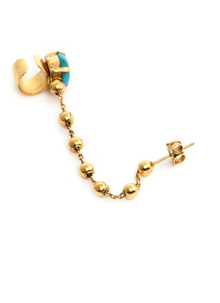 Detail View - Click To Enlarge - Ela Stone - 'Liad Crochet' turquoise chain ear cuff and stud earring set