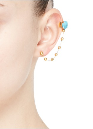 Figure View - Click To Enlarge - Ela Stone - 'Liad Crochet' turquoise chain ear cuff and stud earring set