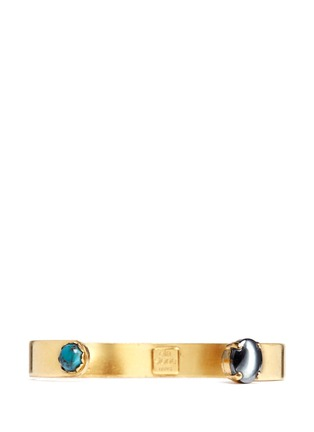 Main View - Click To Enlarge - Ela Stone - 'Liadana' turquoise hematite stone cuff