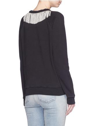 Back View - Click To Enlarge - SAINT LAURENT - Metal fringe neck cotton sweatshirt