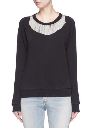 Main View - Click To Enlarge - SAINT LAURENT - Metal fringe neck cotton sweatshirt