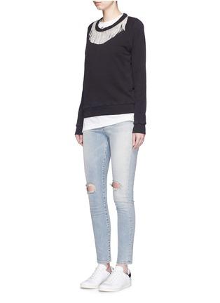 Figure View - Click To Enlarge - SAINT LAURENT - Metal fringe neck cotton sweatshirt